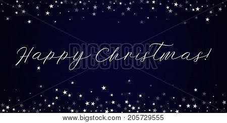 Happy Christmas Greeting Card. Random Falling Stars Background. Random Falling Stars On Deep Blue Ba