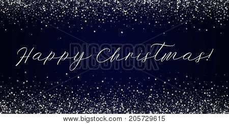 Happy Christmas Greeting Card. Amazing Falling Stars Background. Amazing Falling Stars On Deep Blue