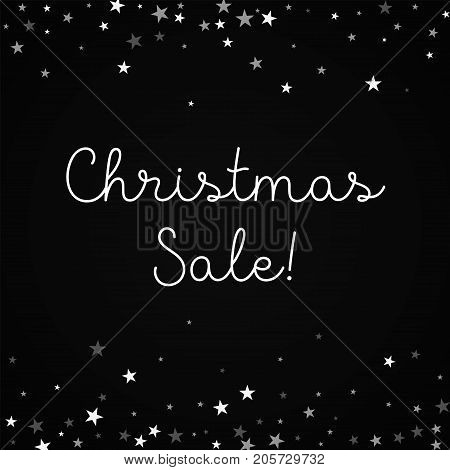 Christmas Sale Greeting Card. Random Falling Stars Background. Random Falling Stars On Red Backgroun