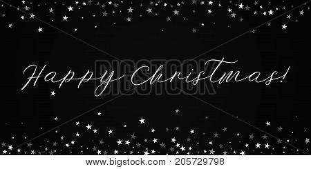 Happy Christmas Greeting Card. Random Falling Stars Background. Random Falling Stars On Black Backgr