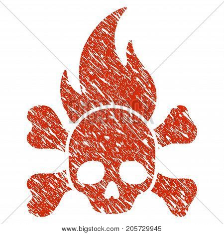 Grunge Death Fire rubber seal stamp watermark. Icon death fire symbol with grunge design and dust texture. Unclean vector red sticker.