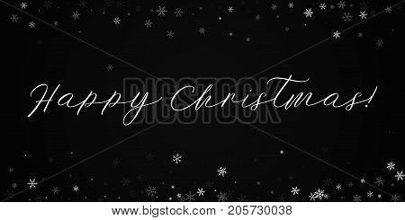 Happy Christmas Greeting Card. Sparse Snowfall Background. Sparse Snowfall On Black Background.cool