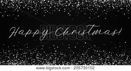 Happy Christmas Greeting Card. Random Falling White Dots Background. Random Falling White Dots On Re