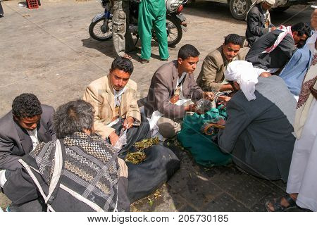 People Selling Khat Leaves On The Streets Of Old Sana