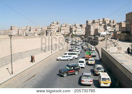 Traffic Jam In Front Of The Decorated Houses Of Old Sana