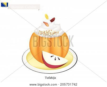 Bosnian Cuisine, Tufahija or Traditional Walnut Stuffed Apples Served with Glazed Syrup and Whipped Cream. One of The Most Popular Dessert in Bosnia and Herzegovina.