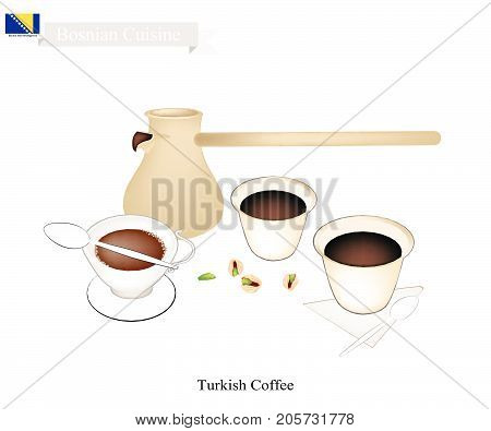 Bosnian Cuisine, Turkish Coffee with Cezve or Turkish Coffee Pot. One of The Popular Beverage in Bosnia and Herzegovina.