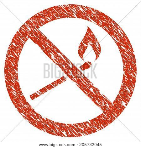 Grunge Forbidden Match Fire rubber seal stamp watermark. Icon forbidden match fire symbol with grunge design and scratched texture. Unclean vector red emblem.