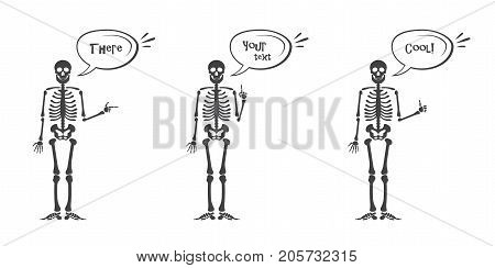 Skeleton hand gestures set: ok, finger up, finger down, fist, middle finger, Rock n roll horns, clapping palms and other emoji. Human skeleton posing isolated on white background vector illustration