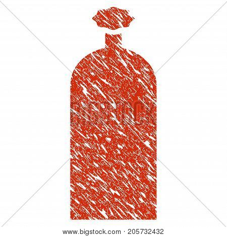Grunge Gas Cylinder rubber seal stamp watermark. Icon gas cylinder symbol with grunge design and dust texture. Unclean vector red emblem.