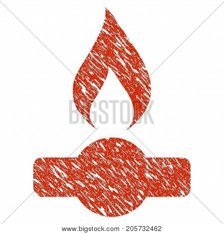 Grunge Gas Flame rubber seal stamp watermark. Icon gas flame symbol with grunge design and scratched texture. Unclean vector red sign.
