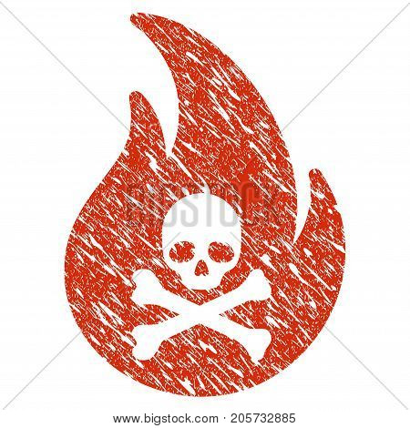 Grunge Hell Fire rubber seal stamp watermark. Icon hell fire symbol with grunge design and dust texture. Unclean vector red sign.