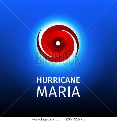Graphic banner of hurricane Maria. Icon, sign, symbol of the Hurricane