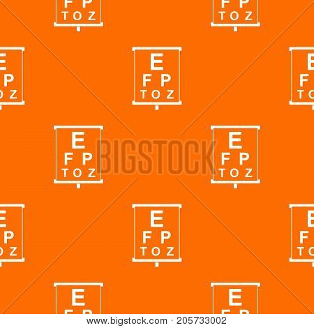 White placard with letters eyesight testing pattern repeat seamless in orange color for any design. Vector geometric illustration