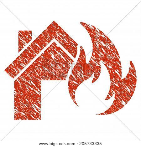 Grunge Home Fire Disaster rubber seal stamp watermark. Icon home fire disaster symbol with grunge design and scratched texture. Unclean vector red sign.