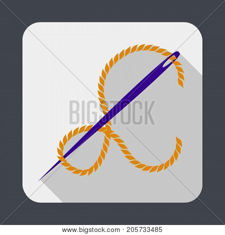 Needle with thread concept background. Cartoon illustration of needle with thread vector concept background for web design