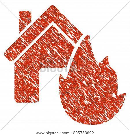 Grunge House Fire Disaster rubber seal stamp watermark. Icon house fire disaster symbol with grunge design and scratched texture. Unclean vector red emblem.