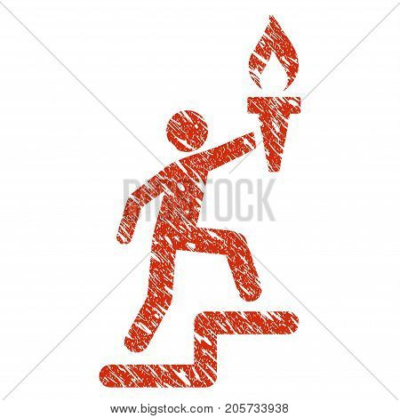 Grunge Leader Climb With Torch rubber seal stamp watermark. Icon leader climb with torch symbol with grunge design and dust texture. Unclean vector red sign.