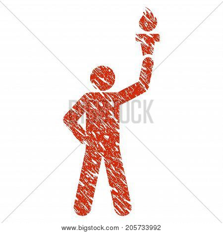 Grunge Leader With Freedom Torch rubber seal stamp watermark. Icon leader with freedom torch symbol with grunge design and unclean texture. Unclean vector red sticker.