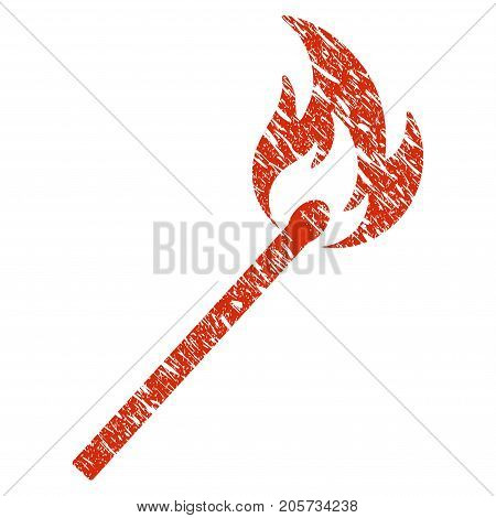Grunge Match Fire rubber seal stamp watermark. Icon match fire symbol with grunge design and dirty texture. Unclean vector red emblem.
