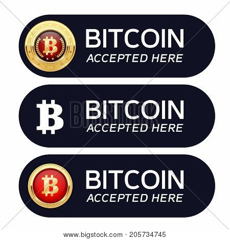 Bitcoins accepted here banner - cryptocurrency icon