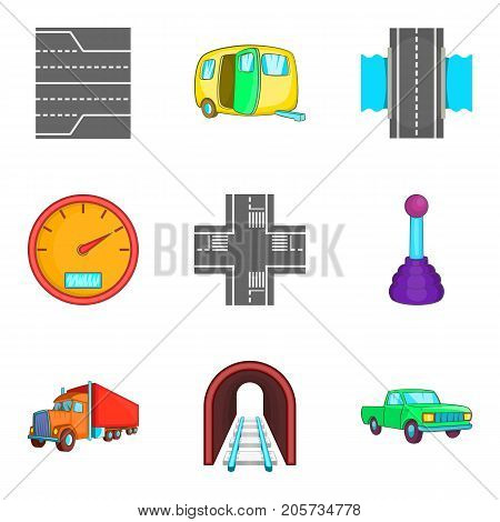 Course icons set. Cartoon set of 9 course vector icons for web isolated on white background