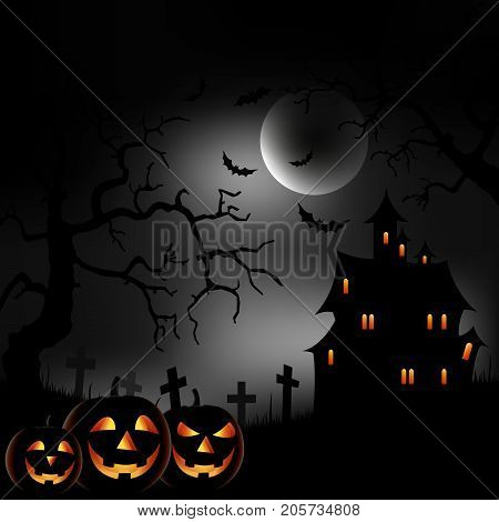 Halloween night background with castle and grinning pumpkins vector eps 10