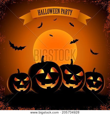 Halloween scary poster with grinning pumpkins vector eps 10