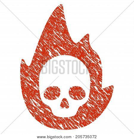 Grunge Mortal Flame rubber seal stamp watermark. Icon mortal flame symbol with grunge design and unclean texture. Unclean vector red sticker.