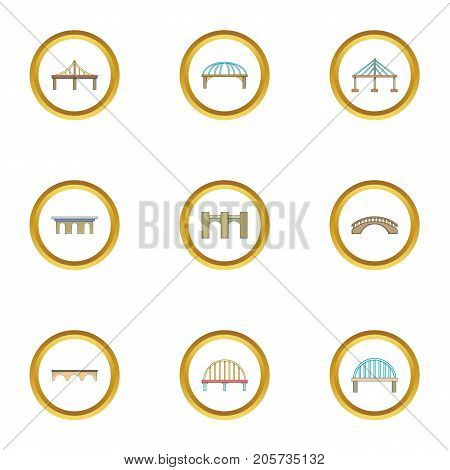 Various bridges icons set. Cartoon style set of 9 various bridges vector icons for web design