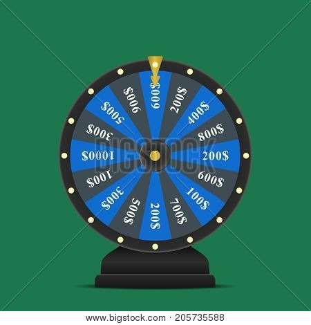 Realistic spinning fortune wheel, lucky roulette vector illustration