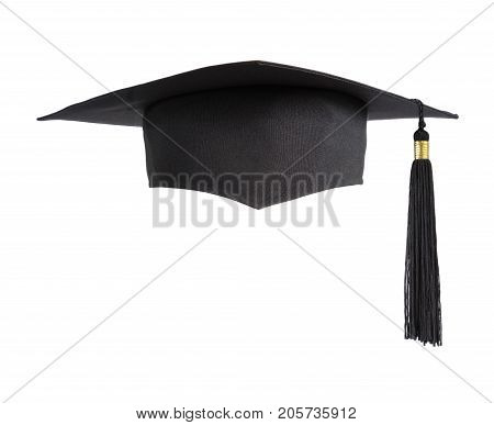 Black square graduate hat with a tassel isolated on white background