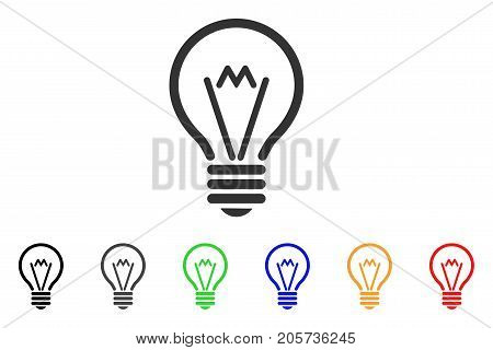 Electric Bulb icon. Vector illustration style is a flat iconic electric bulb symbol with black, gray, green, blue, red, orange color additional versions. Designed for web and software interfaces.