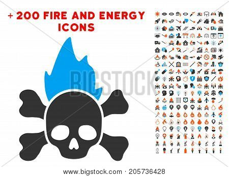 Hellfire pictograph with bonus energy pictograph collection. Vector illustration style is flat iconic elements for web design, app ui.