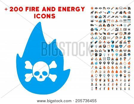 Hellfire icon with bonus energy pictures. Vector illustration style is flat iconic symbols for web design, app user interface.