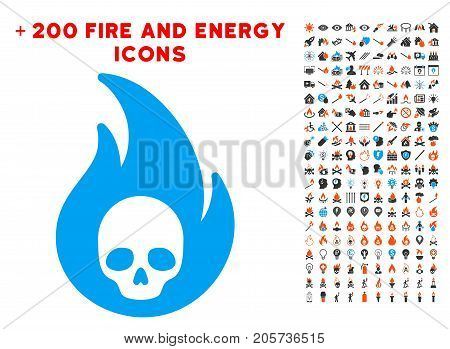 Hellfire pictograph with bonus flame pictures. Vector illustration style is flat iconic symbols for web design, application ui.