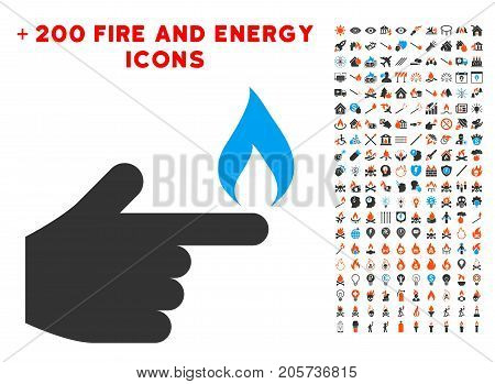 Index Finger Fire icon with bonus power design elements. Vector illustration style is flat iconic elements for web design, app user interface.