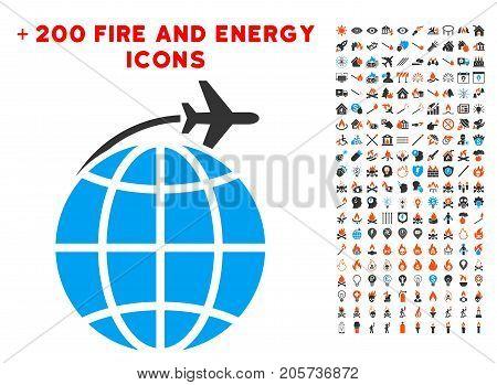 International Flight icon with bonus energy pictures. Vector illustration style is flat iconic symbols for web design, application ui.
