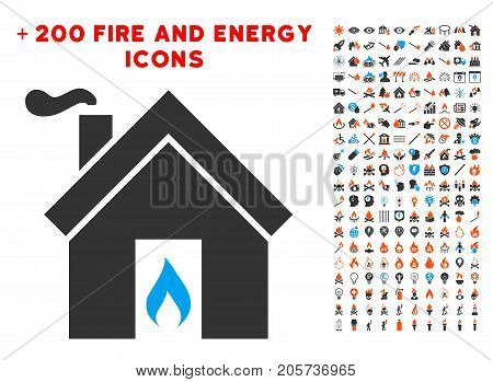 Kitchen Fire icon with bonus flame clip art. Vector illustration style is flat iconic elements for web design, app user interface.