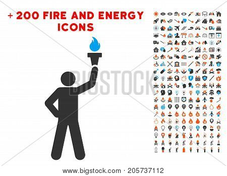 Leader With Freedom Torch pictograph with bonus fire clip art. Vector illustration style is flat iconic elements for web design, application ui.