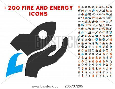 Manual Rocket Launch icon with bonus fire pictograms. Vector illustration style is flat iconic elements for web design, application ui.