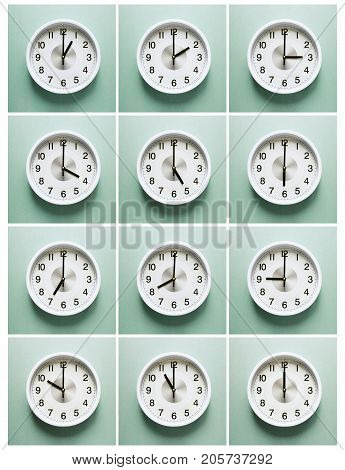 clock, Times of Day, 12 dials with different time