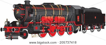 A detailed illustration of a Ten Wheeled red and black Steam Freight Locomotive isolated on White