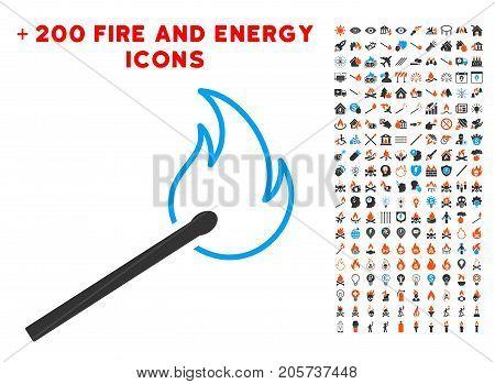 Match Flame icon with bonus energy symbols. Vector illustration style is flat iconic elements for web design, app ui.