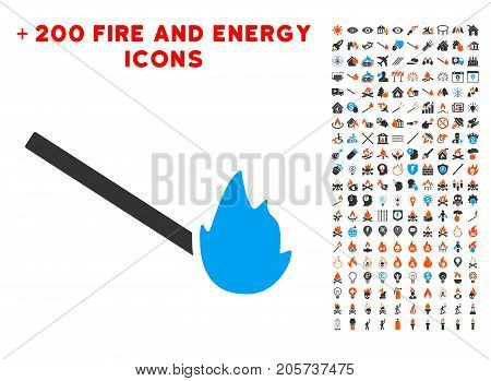 Match Flame icon with bonus energy pictures. Vector illustration style is flat iconic elements for web design, app user interface.
