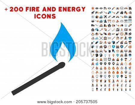 Match Ignition icon with bonus fire symbols. Vector illustration style is flat iconic symbols for web design, app ui.