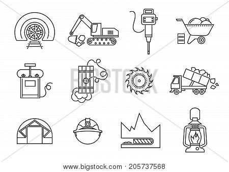 Vector set of thin line vector icons of drilling tunnels in mining industry.