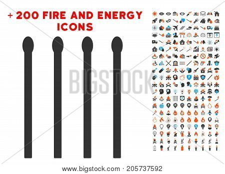 Matches icon with bonus energy pictures. Vector illustration style is flat iconic symbols for web design, application ui.