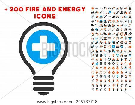 Medical Bulb icon with bonus fire icon set. Vector illustration style is flat iconic elements for web design, application user interface.