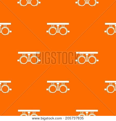 Trial frame for checking patient vision pattern repeat seamless in orange color for any design. Vector geometric illustration